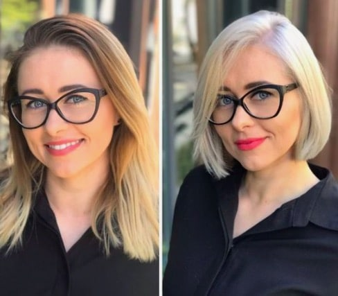 Femme portant des lunettes aux cheveux courts
