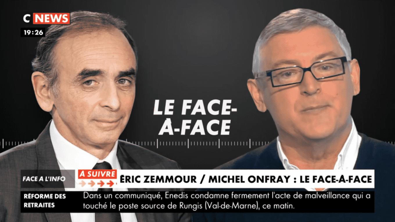 Débat entre le polémiste Éric Zemmour et le gauchiste Michel Onfray: qui est le grand gagnant?